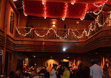 Image of the Lodge with holiday decorations
