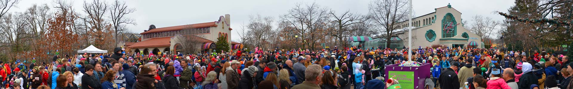 Image of crowd gathered for the countdown at Noon Years Eve