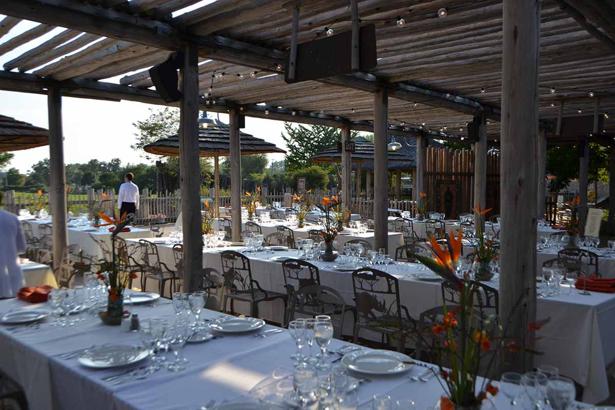 The Overlook Set Up For An Evening Dinner Event In Summer